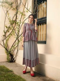Grey Color Rayon Print Stitched Kurti - Shaavi-11022