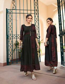 Black Color Rayon Print Stitched Kurti - Shaavi-11024