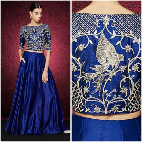 Blue Color Banglori Silk Stitched Lehenga - Shabana-Blue-Lehenga