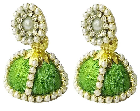Green Color Silk Thread Ear Rings - Shaila-003