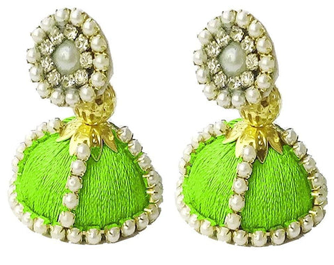 Green Color Silk Thread Ear Rings - Shaila-007
