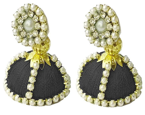 Black Color Silk Thread Ear Rings - Shaila-009