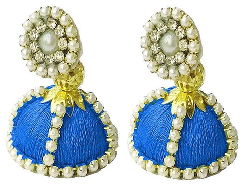 Blue Color Silk Thread Ear Rings - Shaila-011