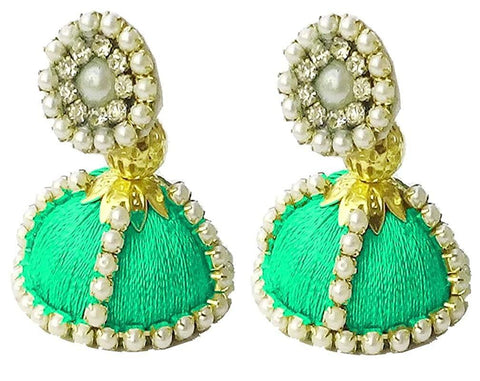 Green Color Silk Thread Ear Rings - Shaila-012