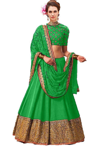 Green Color Banglori Silk Stitched Lehenga - Shakshi-Green-Lehenga