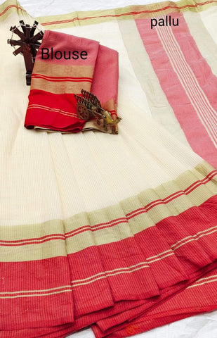 White Color Doriya Cotton Women's Saree - Shree_008