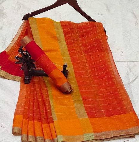Orange Color Doriya Cotton Women's Saree - Shree_037