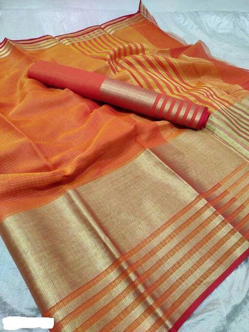 Orange Color Cotton Saree - Shree_054