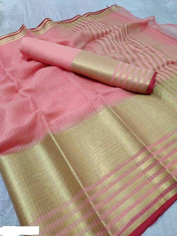 Peach Color Cotton Saree - Shree_055