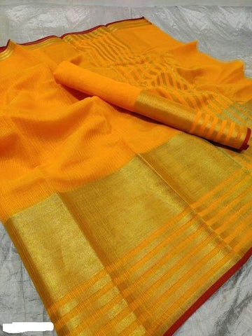Yellow Color Cotton Saree - Shree_058