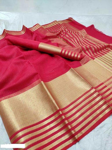 Red Color Cotton Saree - Shree_059