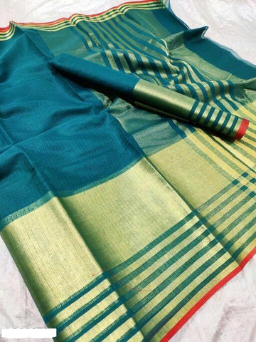 Turquoise Color Cotton Saree - Shree_060