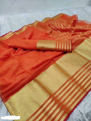 Orange Color Cotton Saree - Shree_061