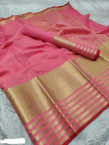 Peach Color Cotton Saree - Shree_062