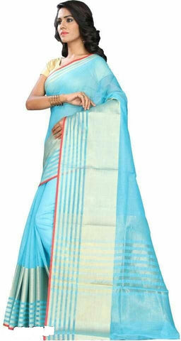 Turquoise Color Cotton Saree - Shree_064