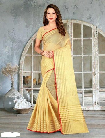 Golden Color Cotton Saree - Shree_065