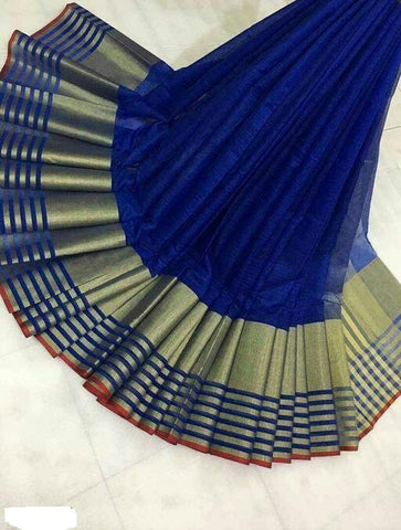 Navy Blue Color Cotton Saree - Shree_066