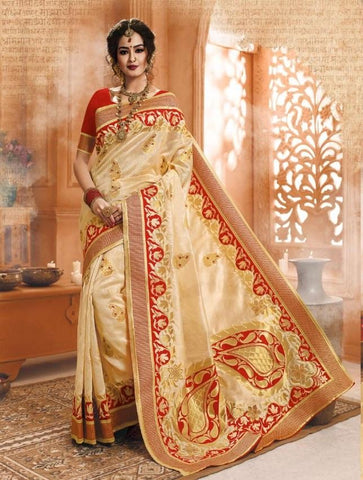 Beige Color Banarasi Silk Saree-ShubhAgaman-10642