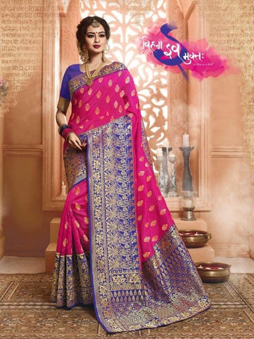 Pink Color Banarasi Silk Saree-ShubhAgaman-10643