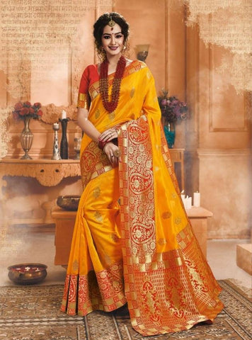 Yellow Color Banarasi Silk Saree-ShubhAgaman-10644
