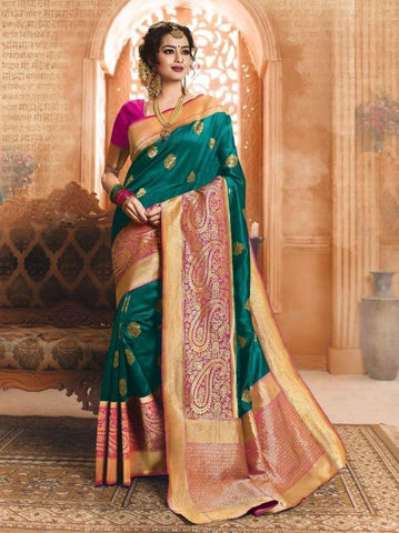 Dark green Color Banarasi Silk Saree-ShubhAgaman-10645