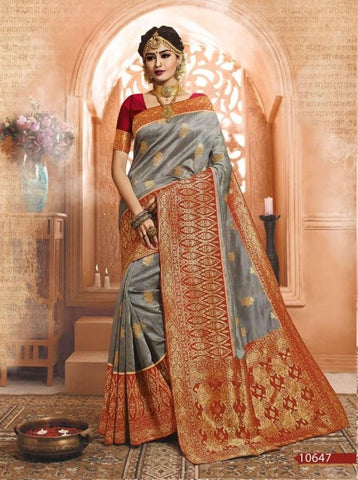 Grey Color Banarasi Silk Saree-ShubhAgaman-10647