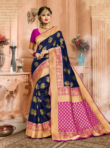 Navy blue Color Banarasi Silk Saree-ShubhAgaman-10648
