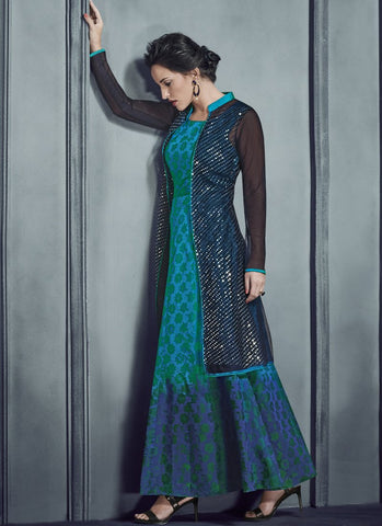 Multi Color Net With Silk Print Stitched Kurti - Silky2-4014