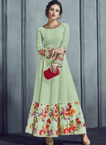 Pista Green Color Apple Georgette With Japan Satin Print Stitched Kurti - Silky2-4015