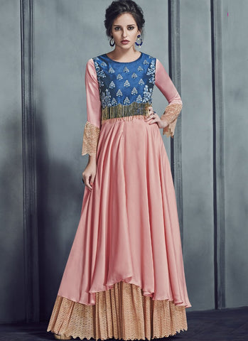 Peach Color Silk Slib, Georgette Satin With Jacquard Net Stitched Kurti - Silky2-4016