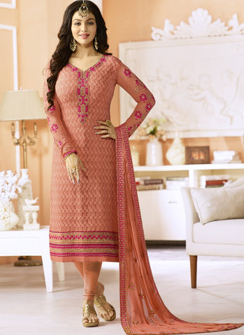 Blush Red Color Georgette Semi Stitched Salwar - Simar-801