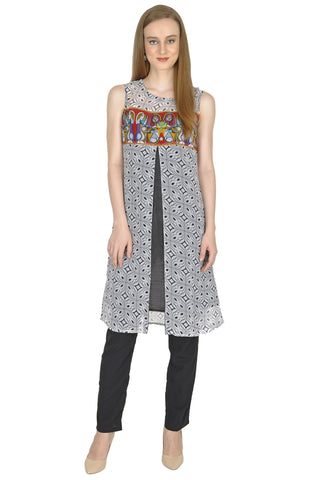 Black and White Color Cotton and RawSilk Stitched Kurti - Simbha-P10