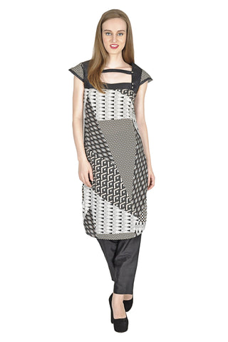 Black Color PolyCrepe Stitched Kurti - Simbha-P12