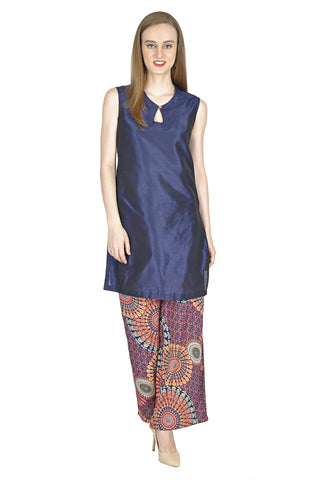 NavyBlue Color Raw Silk Stitched Kurti - Simbha-P18