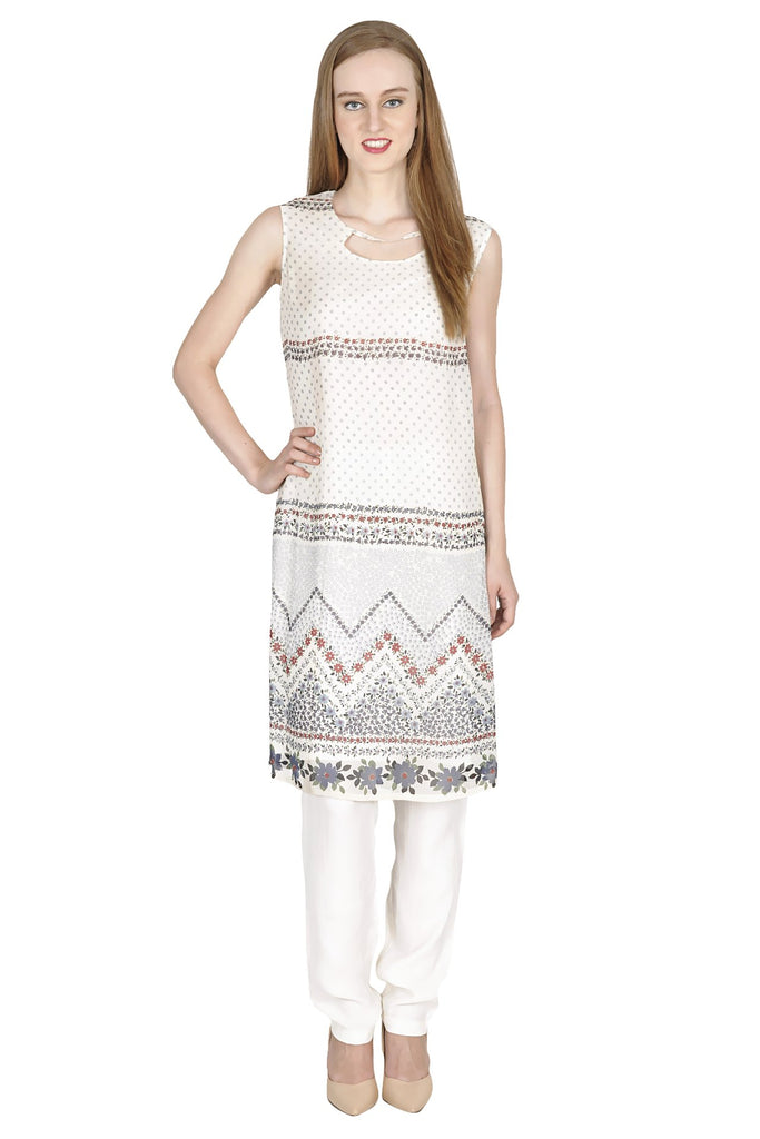 OffWhite Color Poly Georgette ReadyMade Kurti