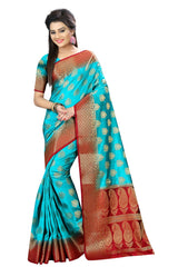 Buy Sky Blue Color Nylon Dyeable Saree