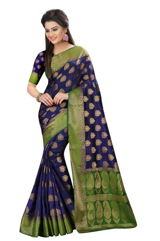 Navy Blue Color Nylon Dyeable Saree - Siya3-2012