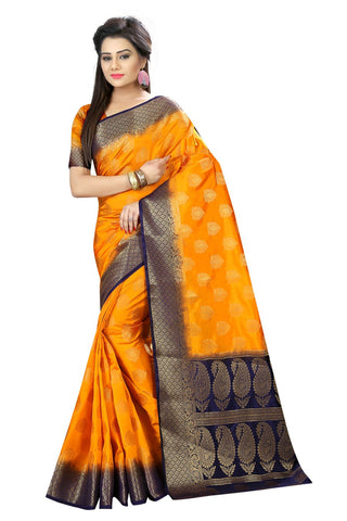 Dark Orange Color Nylon Dyeable Saree - SiyaVol3-2008