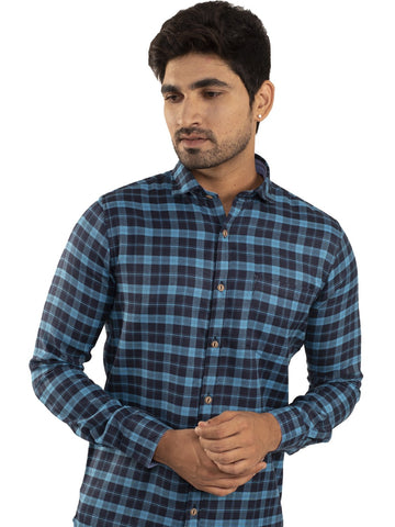 Sky Blue Color Checked Casual Shirt - SB-1ABF