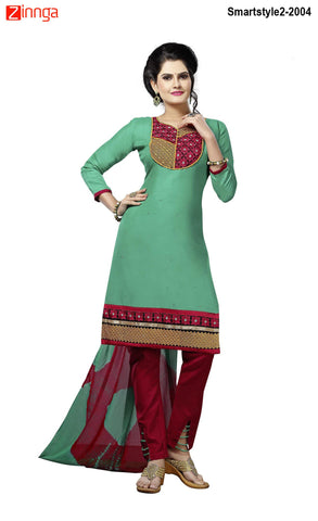 MINU FASHION- Women's Beautiful Green Color Cotton Un Stitched Salwar Kameez-Smartstyle2-2004