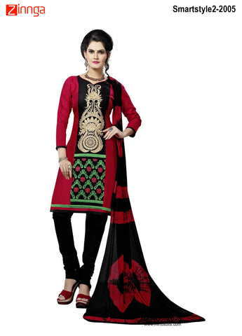 MINU FASHION- Women's Beautiful Red Color Cotton Un Stitched Salwar Kameez-Smartstyle2-2005