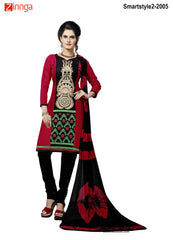 Red Color Cotton Salwar Kameez