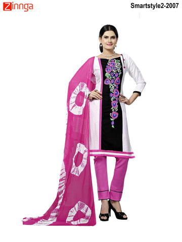 MINU FASHION- Women's Beautiful White Color Cotton Un Stitched Salwar Kameez-Smartstyle2-2007