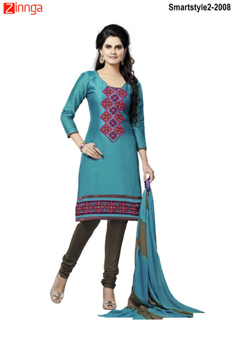 MINU FASHION- Women's Beautiful Green Color Cotton Un Stitched Salwar Kameez-Smartstyle2-2008