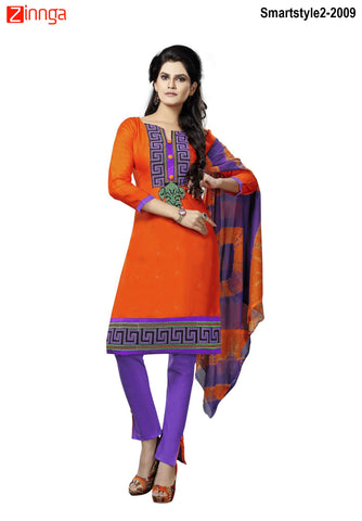 MINU FASHION- Women's Beautiful Orange Color Cotton Un Stitched Salwar Kameez-Smartstyle2-2009