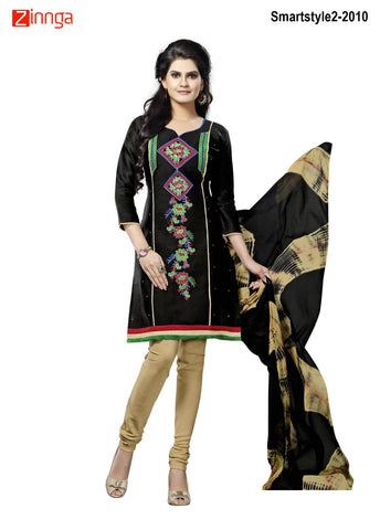 MINU FASHION- Women's Beautiful  Black Color Cotton Un Stitched Salwar Kameez-Smartstyle2-2010