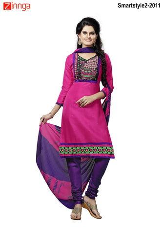 MINU FASHION- Women's Beautiful Pink  Color Cotton Un Stitched Salwar Kameez-Smartstyle2-2011