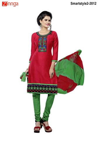 MINU FASHION- Women's Beautiful Red Color Cotton Un Stitched Salwar Kameez-Smartstyle2-2012