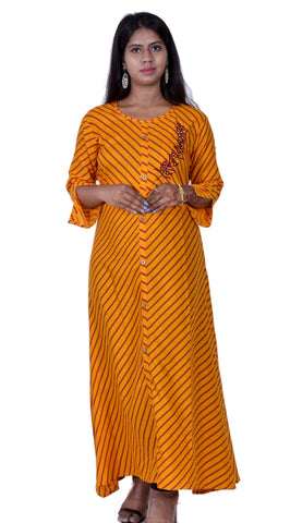 Orange Color Rayon Women's Stitched Anarkali Kurti  - Sparow_101