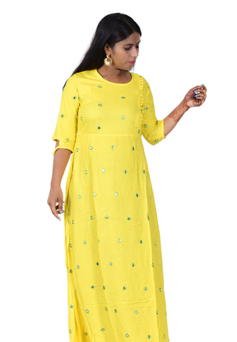 Yellow Color Rayon Women's Stitched Anarkali Kurti  - Sparow_103